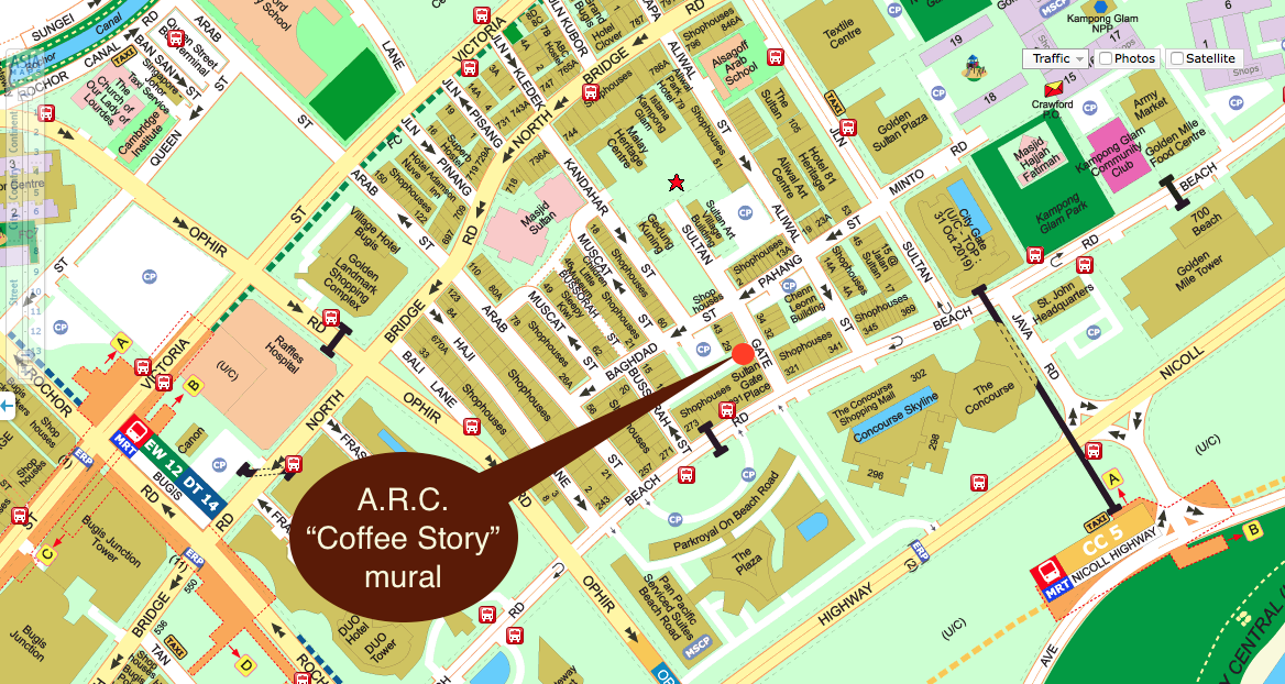 "Location of A.R.C. and the ""Coffee Storey"" mural"