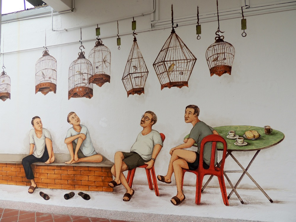 """Bird Singing Corner"" – Tiong Bahru, Seng Poh Lane Block 71 – created March 2016"