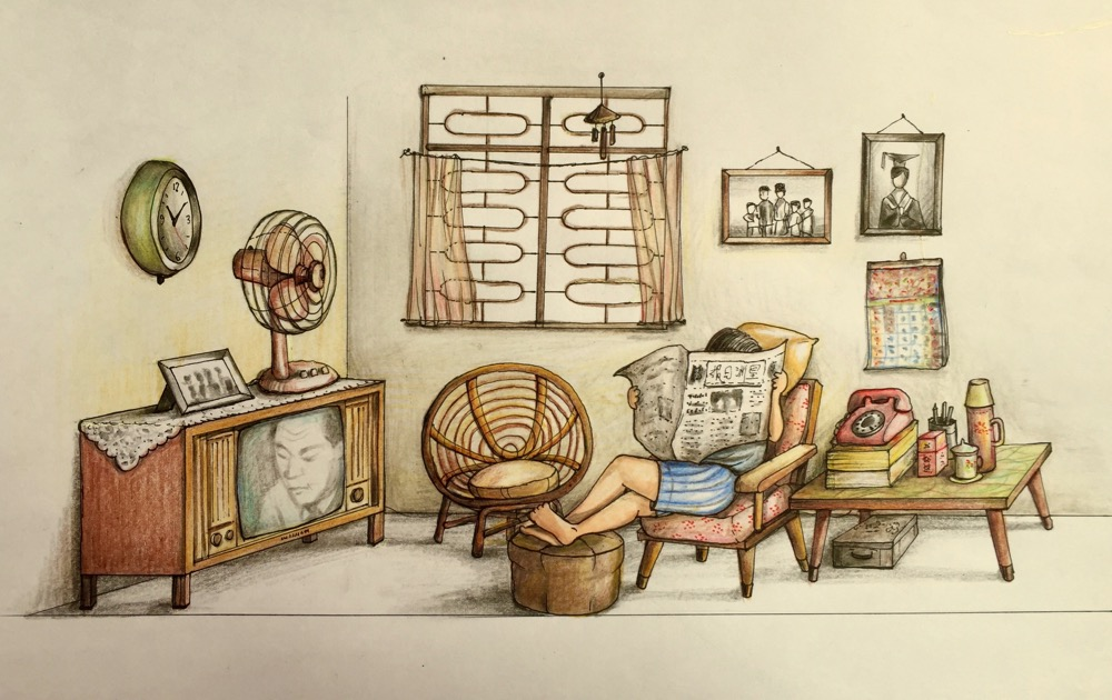 "The original sketch of ""Home"". Drawn almost entirely from memory. As a kid, I was so happy when my home in Sago Lane got its first sofa set, although it was a second hand set recycled from my uncle's home in Tiong Bahru."