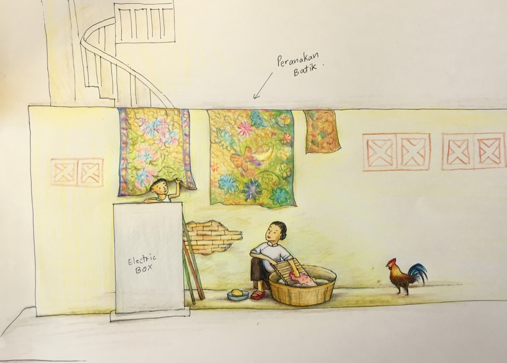 However, Prof Victor Choa counter-proposed a Peranakan theme mural concept. Over night, I came up with this sketch. Ultimately, he asked me to submit both concepts to the URA for approval.