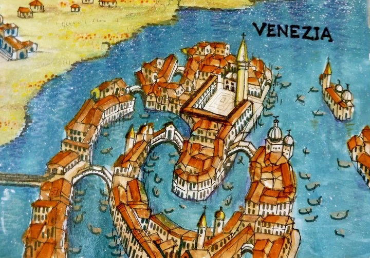 This section of a 1996 map showed Venice's layout but not to scale. The details included famous landmarks like Piaza San Marco and Ponte Vecchio.