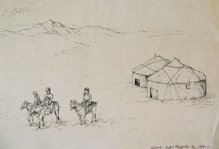 This was another sketch which the original was given to a colleague in the Audit firm when I was an intern in 1992. You can tell that it was simple and would not have taken too much time to draw (that's why I didn't have a second thought of giving it away:-)! Looking at it now, I think the nomads looked oversized and the horses too small! The way the Gers (Mongolian tents) were tied to the ground was also not accurately drawn.