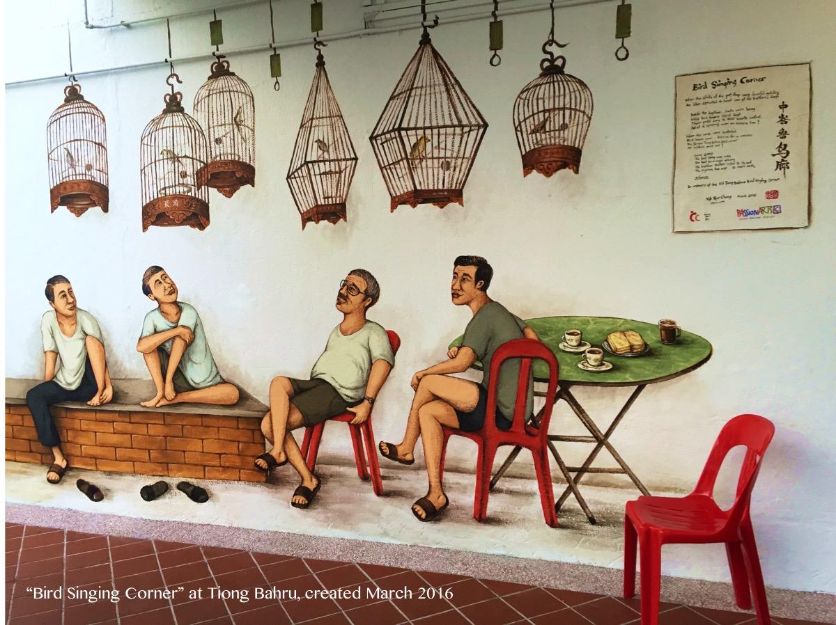 Two men chatting by the 'Bird Singing Corner' wall mural along Seng Poh Lane, Tiong Bahru